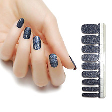 Charcoal Gray glitter color real nail polish strips Kas209 street art wraps