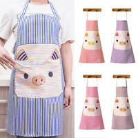 GI- KQ_ Cute Pig Polyester Pockets Home Kitchen Cooking Anti-Splash Apron Exquis