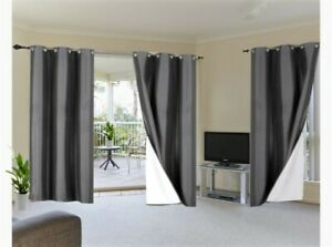 100% Blackout 2 Panels Lined Backing Heavy Thick Grommet Window Curtain ADAM