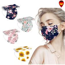 10 x EMUZO Mund-Nasen-Maske Blume Blumen Muster Farbig 3 lagig 10 Stück