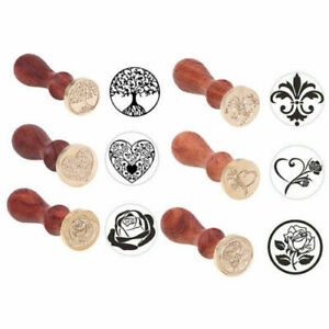 1Pcs Vintage Wooden Handle Pattern Seal Wax Stamp Kits Wedding Invitation Card