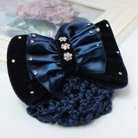 Haarclip mit Haarnetz Dutt Haarklammer Haarspange Schleife Strass Bow Blau