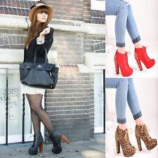 Señoras para mujer Grueso Talón Plataforma Botas al tobillo con Cordones Spike Moda Zapatos Tallas