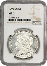 1892-CC $1 NGC MS61 - Popular, Scarce Carson City Morgan - Morgan Silver Dollar