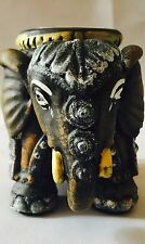 Lucky Elephant Tea Light Candle Holder Fragrance Statue Ornament Stone Figurine.