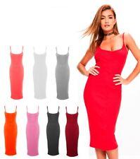 Women Ladies Ribbed Midi Dress Body-con Long Tunic Skater Cami Ladies Dresses