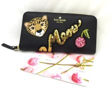 NWT Kate Spade Leopard Run Wild Cherry Neda Wallet Black Zip Leather WLRU5004