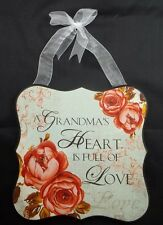 Wall Art Plaque Wood Sign Flower A Grandma's Heart is full of Love #226