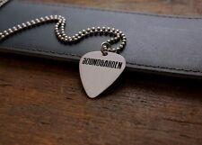 Handmade Etched Nickel Silver Guitar Pick Necklace - Soundgarden - Donation Sale