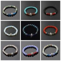 Men Natural Lava Stone Silver Spartan Helmet Bracelet 8mm Beaded Charm Bracelet
