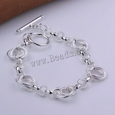 New Fashion Women Real 925 Silver Bracelet Bangle Jewelry Chain Charm Gift
