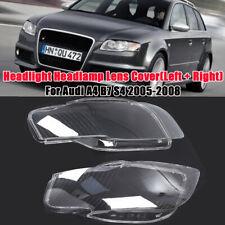 Pair Headlight Headlamp Lens Cover Clear Lens For Audi A4 B7 2005-2008