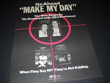 CLINT EASTWOOD & T.G. SHEPPARD Go Ahead Make My Day 1984 PROMO POSTER AD mint