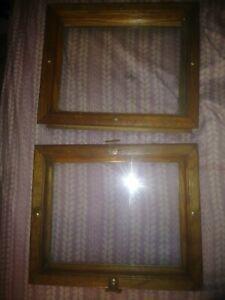 "2 Vintage 11.5"" × 9.5"" Interior/Exterior(?) House Windows w/Oak Frames. Handmade"