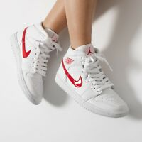 Nike Air Jordan 1 Mid White University Red NEW Women's Size 9 & 10 BQ6472-106