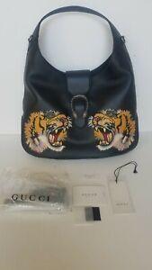 $4460 NWT Gucci Dionysus Hobo Embroidered Leather Maxi Tiger Handbag Black  HOBO