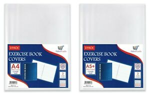 Clear Exercise Book Covers Strong Plastic Protecting Sleeves School Notebook