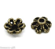 300 Bronze Tone Flower Bead Caps 6x2.8mm