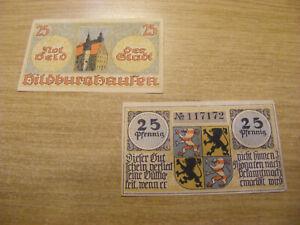 2 x 1920's Germany both 25 Pfennig Notgeld Banknotes, Used but stil crisp