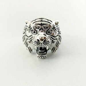 BRAND NEW STERLING SILVER 925 MENS TIGER RING ZODIAC HEAVY SOLID RING RESIZABLE