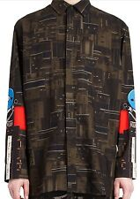 "Givenchy Mens All Over Circuit Print Shirt Compare $995 Size M 34""-35"" Sleeves"