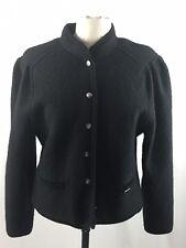 Geiger 100% Wool Black Knit Cardigan Sweater Womens Jacket Austria 40