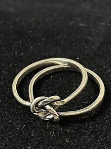 Double Love Knot 2 Band Ring Sterling Silver Size 8 Knot Ring ❤️