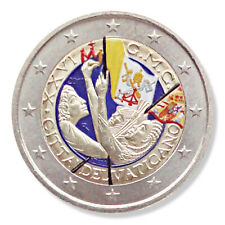 Farbige 2 Euro Gedenkmünze Vatikan 2011 - Weltjugendtag Madrid pfr in Münzkapsel