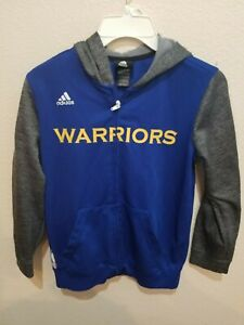 Golden State Warriors NBA Hoodie Zip-Front Adidas Youth Size M(10-12) Polyester