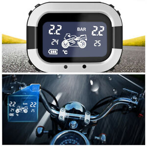 TPMS Motorcycle LCD USB Tire Pressure Monitor Wheel Abnormal Alarm w/2 Sensors