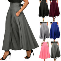 Women High Waist Pleated A Line Long Skirt Front Slit Belted Evening Maxi Skirt