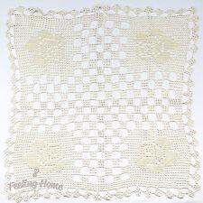 Handmade Crochet Tablecloth Cotton Doily Flower Design Square 83 cm ( 32 in) NEW