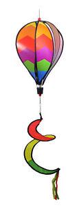 "WorldaWhirl Wind Spinner Hot Air Balloon 6 Color Rainbow PVC 10"" Wide 44"" Tall"