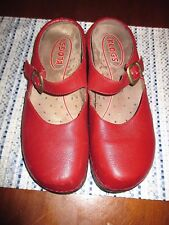 KLOGS womens SZ 8W burgundy leather mary jane clog shoes