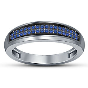 10K White Gold Plated 1.00 ct Men's Round Blue Sapphire Pinky Band Ring