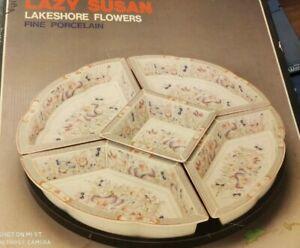 New Vintage fine Porcelain Revolving Lazy Susan Tray Serving candy Bowls JAPAN