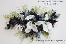 WEDDING ARCH FLOWER ARRANGEMENT IN CALLA LILIES NAVY & WHITE