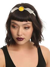 Harry Potter Golden Snitch Metal Hair Headband Silver Tone Wings Yellow Gem NEW