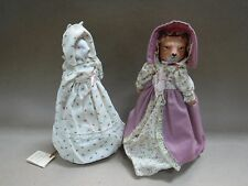 x2 1984 Country Faire Musical Dolls: Ms. Sabrina Fox Doll + Ms. Beatrice Rabbit
