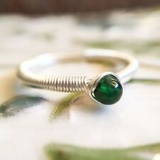 Emerald Sterling Silver Wire Wrap Ring Simple Tiny May Birthstone Ring Size S