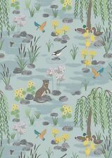 By 1/2 Yard ~ Down by the River Main Blue ~ Lewis & Irene Fabric Otter Duck Bird