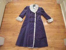American Girl Samantha Winter Coat Lavender Velour Faux Fur Trim Collar Size 8