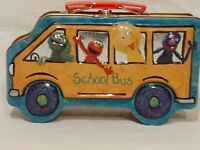 "2002 Sesame Street Elmo School Bus Collectible Metal/Tin Lunchbox/Case 8""x5"""