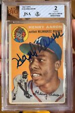 1954 Topps #128 Hank Aaron RC Rookie HOF Signed AUTO Tigers BVG 2 JSA Certified