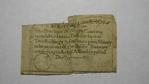 1771 Two Shillings Six Pence North Carolina NC Colonial Currency Note Bill! 2s6d