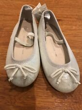 NEW w/Tags Baby GAP Girl Silver Glitter Ballerina flats /  Holiday shoes Size 7