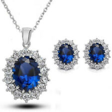 Fashion Blue Sapphire Crystal Costume Jewelry Sets Snowflake Necklace Earring