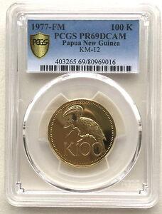 Papua New Guinea 1977 Papuan Hornbill 100 Kina PCGS PR69 Gold Coin,Proof