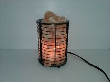 NATURAL PINK SALT ROCKS INCANDESCENT LAMP ON DIMMER SWITCH, METAL APPROX 6-1/2""