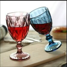 2 x Vintage Goblet Colorful Juice Wine Glasses Cup Emboss Champagne Flutes 240ml